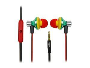 GOgroove AudiOHM iDX Rasta In-Ear Headphones with Noise Isolation, Hands-Free Calling, Tangle Free Cord and Custom Fit Silicone Gels