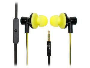 GOgroove AudiOHM iDX In-Ear Headphones with Noise Isolation, Hands-Free Calling, Tangle Free Cord and Custom Fit Silicone Gels (Black & Yellow)