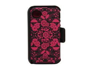 OtterBox Defender Black / Peony Perennial Case For iPhone 4/4S 77-20409