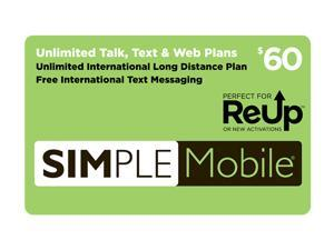 Simple Mobile $60 Re-Up Value Unlimited Nationwide Talk, Text, and Unlimited Data