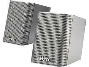 iHome IDM14S Silver Rechargeable Portable Bluetooth Speaker System