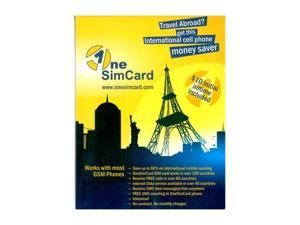OneSimCard International SIM Card for Prepaid Mobile Service in 190 Countries w/ $10 AirtimONESIM1