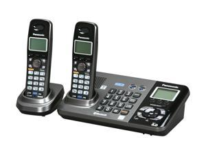 Panasonic KX-TG9382T 1.9 GHz/2.4GHz Digital DECT 6.0/Bluetooth 2X Handsets Cordless Phone Integrated Answering Machine