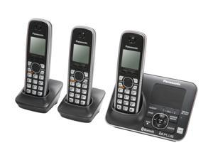Panasonic KX-TG7623B Link-To-Cell 1.9 GHz Digital DECT 6.0 3X Handsets Cordless Phones