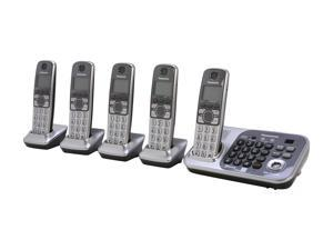 Panasonic KX-TG7745S 1.9 GHz Digital DECT 6.0 Link to Cell via Bluetooth Cordless Phone with Integrated Answering Machine ...