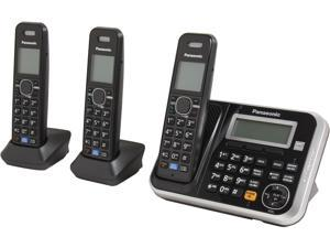 Panasonic KX-TG6843B 1.9 GHz DECT 6.0 3X Handsets Expandable Digital Cordless Answering System Integrated Answering Machine