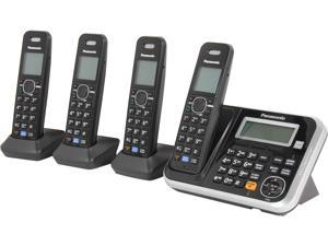 Panasonic KX-TG6844B 1.9 GHz DECT 6.0 4X Handsets Expandable Digital Cordless Answering System Integrated Answering Machine