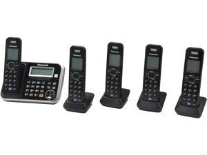 Panasonic KX-TG6845B 1.9 GHz DECT 6.0 5X Handsets Expandable Digital Cordless Answering System
