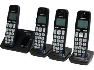 Panasonic KX-TGE234B 1.9 GHz DECT 6.0 4X Handsets Expandable Digital Cordless Answering System with 4 Handsets Integrated Answering Machine