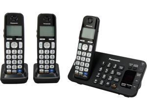 Panasonic KX-TGE243B 1.9 GHz DECT 6.0 3X Handsets Expandable Digital Cordless Answering System with 3 Handsets Integrated Answering Machine