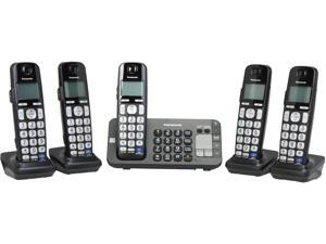 Panasonic KX-TGE245B 1.9 GHz DECT 6.0 5X Handsets Expandable Digital Cordless Answering System with 5 Handsets Integrated Answering Machine