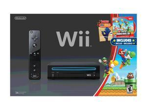 Nintendo Wii System w/New Super Mario Brothers & Mario Music CD Black