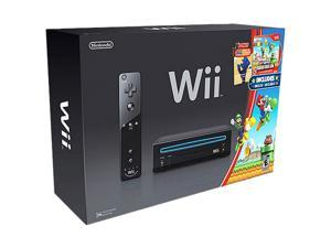 Nintendo Wii Console with New Super Mario Bros. Wii Game and Music CD Black
