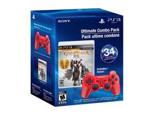 SONY PS3 DualShock 3 Red & God of War Saga Collection Bundle