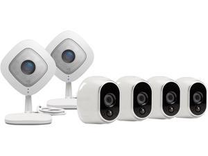 Netgear Arlo Smart Home Security Camera System - 4 HD, 100% Wire-Free, In / Outdoor Cameras w/ Night Vision and 2 Arlo Q 1080p Wi-Fi Camera w/ 2 Way Audio & 7 Days of FREE Cloud Recordings - VMK3500-1