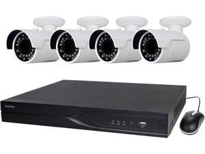 LaView 4MP IP Security System 4 cameras 16 channel NVR with 4K Output H.265 Codec, 4 x Full HD 4MP Bullet Day / Night In / Outdoor Weather Proof Cameras (No HDD Included)