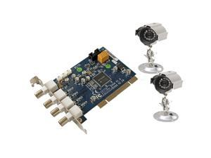Q-See QSDT42DPCRC 4 Channel H.264 PCI DVR Card with 2 CCD Sensor Day/Night Cameras