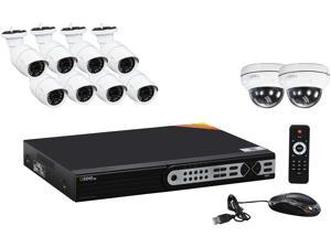 Q-See 3MP PoE IP Camera Security System, 16 Channel NVR and 10x 3MP Full HD (2048 x 1536 pixels) Day / Night In / Outdoor PoE IP Cameras, Included 2  Dome Cameras (No HDD Included)