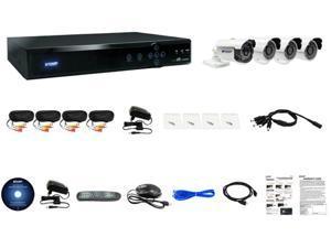 KGuard Aurora Series: AR421-CKT001-500G Full 960H H.264 4 Ch. DVR, QR Code Mobile Setup, 1 x 800TVL Auto Tracking Camera and 3 x 700TVL Camera