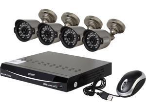 KGuard EL822-CKT005-500GB 8 Channel H.264 Level 960H DVR w/QR Code Easy Setup, Support Cloud Service-Dropbox, 4 x800TVL Day/Night Camera