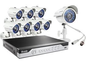 Zmodo KHI8-YARUZ8ZN 8 Channel H.264, 960H DVR Security System with 8 x 700TVL Night Vision w/IR Cut Outdoor Cameras (No ...