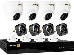 Defender HD1T8D4B4 8 Channel H.264 Level HD 1080P 8CH with 4 Dome Cameras & 4 Bullet Cameras