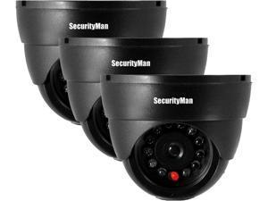 SecurityMan SM-320S-3PK 3pcs Dummy Indoor Dome Cam Black