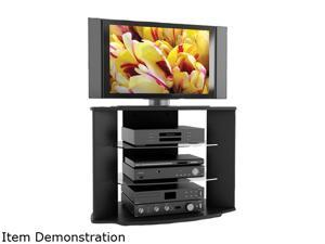 "Sonax RX-3500 32"" - 46"" Midnight Black Lacquer Painted Finish Rio 35"" TV Stand with Two Glass Shelves"