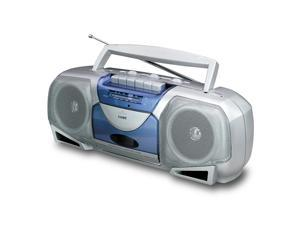 COBY Portable AM/FM Cassette Player/Recorder - Silver, Blue CX244