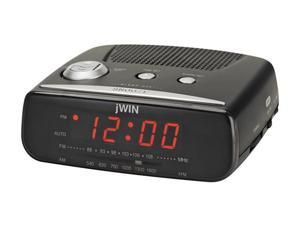 jWin Compact Digital Alarm Clock with AM/FM Radio, Black (JL206BLK)