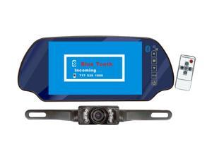 "PYLE PLCM7300BT 7"" Mirror Monitor W/ Rearview Night Vision Camera Built-In Bluetooth"