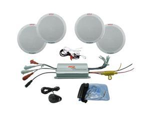 "Pyle PLMRKT4A 4 Channel Waterproof Amplified 6.5"" Marine Speaker System"