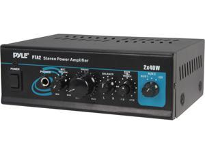 PyleHome PTA2 Mini Stereo Power Amplifier - 2 x 40 Watt with AUX, CD & Mic Inputs