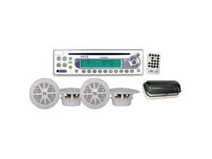 "Pyle Marine CD Receiver w/ 2 Pair 5.25"" Speakers (White)"