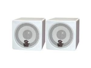 "PYLE PCB3WT 2CH 3"" 100 Watt White Mini Cube Bookshelf Speaker Pair"