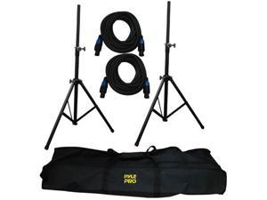 PYLE PMDK101 Heavy-Duty Aluminum Anodizing Dual Speaker Stand & 21FT Speakon Cable Kit