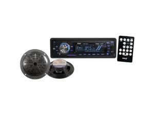 "Pyle PLMRKT12BK In-Dash Marine Receiver w/ Pair 5.25"" Speakers"