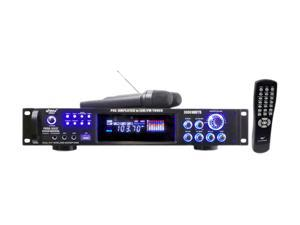 3000 Watts Hybrid Pre-Amplifier W/AM-FM Tuner/USB/Dual Wireless Mic