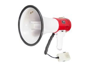 PYLE PMP58U White / Red Professional Piezo Dynamic 50 Watts Megaphone With USB Function