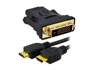 6 Foot Gold HDMI Male/Male Digital Audio/Video HDTV/Home Theater Cable+HDMI Female to DVI Male(D) ADAPTER for HDTV Projector ...