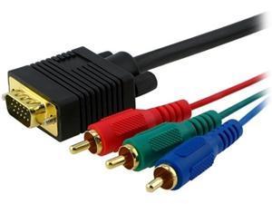 Insten 252620 6 ft. 2 x Premium VGA to 3 RCA Component Cable M/M M-M
