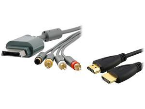 Insten Model 1926504 AV Composite and S-Video Cable + High Speed HDMI Cable M/M For Microsoft Xbox 360 / Xbox 360 Slim