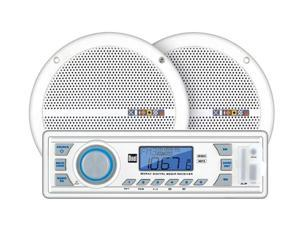 "Dual Marine Radio Receiver w/ Pair 6.5"" 60W Speakers"