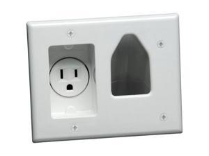 DataComm Recessed Cable Access Wallplate with Receptacle, White (45-0021-WH)