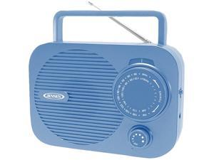 JENSEN Portable AM/FM radio (Black) w/ Aux jack (blue) MR-550-BL