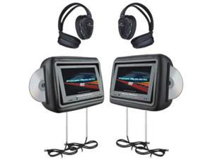 "Power Acoustik 1-Pair Universal Headrest 8.8"" Touch Screen w/ DVD Player (Gray)"