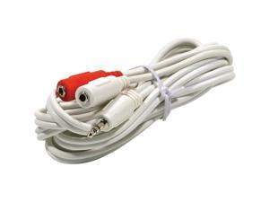 "STEREN 252-051WH 6"" 3.5mm Stereo Plug to 2-RCA Plug Y Audio Patch Cord M-M"