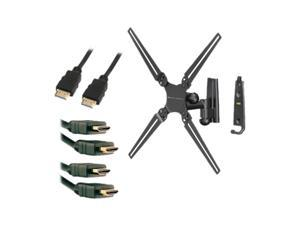 "Level Mount LM30SJ/41202X3KIT Black 10"" Wall Mount With 3 Pack 6ft HDMI Cables"