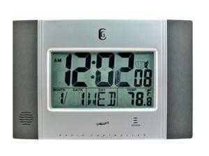 Elgin 4625G Silver Wall Clock With Radio Control