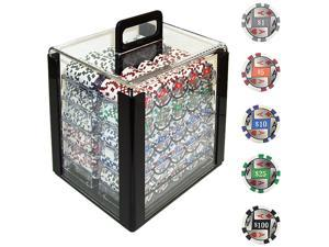 Generic 1000 4 Aces w/Denominations Poker Chips in Acrylic Carrier